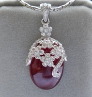 Wholesale Gemstone pendants necklaces ruby Silver pendants high quality fashion flower embroid ruby gemstone pendants