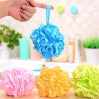 ball scrubber - High Quality Lace Mesh Pouf Sponge Bathing Spa Handle Body Shower Scrubber Ball Colorful Bath Brushes Sponges AAF507