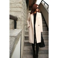 Wholesale 2015 Autumn Winter Fashion Overcoat Pink Black Beige Single Button Turn Down Collar Casual Worsted Outerwear Coat for Women OXL082704