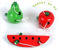 Wholesale 3 Design Teaching Aids Baby Toys Worms Eat Fruit Puzzle Wooden Education Toy Channeling Rope Toddler Toys B