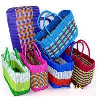bath totes - Plastic storage bag woven baskets top handle bags designer tote bags handbags hand basket bath bathing blue V10G6