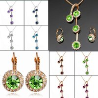 aqua sweaters - 1 Set Women Lady Latest Jewelry Sets Alloy Mineral Crystal Pendant Necklace Studs Earrings Sweater Best Gift