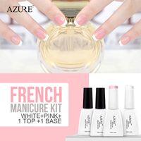 azure decoration - Azure White Pink French Manicure Nail Top Base Coat Free Tip Guides Nail Polish Decoration Soak Off Gel Polish