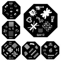 Wholesale Designs QA Nail Art Stamping Plate Stainless Steel Manicure Image Stencil Polish Printing Nail Beauty Stamp Template