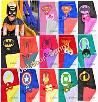 Wholesale 2015 New Superhero cape CAPE MASK cm back Super Hero Costume for Children Halloween Party Costumes for Kids Children s Costume And Free