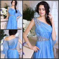 indian dress - Arabic Evening Gowns One Strap Beaded Organza Crystal Evening Dress Sexy Prom Dresses Formal Dresses Dubai Kaftan Indian