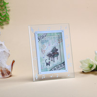 glass photo frame - Crystal Glass Photo Frame Certificate Frame swing sets really creative D frame transparent piano music for children Frame
