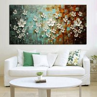 Wholesale Decorative Art Handmade Oil Painting On Canvas The White Flowers are In Full Bloom Picture For Living Room Home Decor Wall Painting Picture