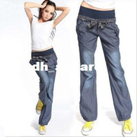 best denim jeans for women - Surprise Best Quality New Bloomers WIde Leg Pants Elastic Waist Bow Trousers for Women Loose Denim Pants Jeans with Belt