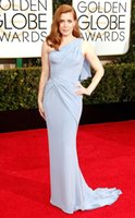 adams reds - 2015 nd Golden Globe Awards Celebrity Dresses Amy Adams Light Blue Jersey One Shoulder Sleeveless Sweep Train Celebrity Red Carpet Dress