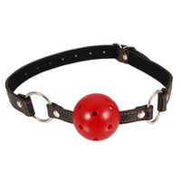 Wholesale Plastic PU Leather Heart Shape Mouth Plug Red Black Flirt with sex and mouth plug appliances
