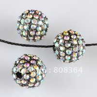 Wholesale Gunmetal Clear AB Color Dense Bling Rhinestone Ball Beads mm W01066 X