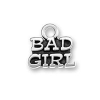 bad wife - a Antique Silver Plated Square Bad Girl Message Charms Pendant Letter Wife Jewelry for Necklace