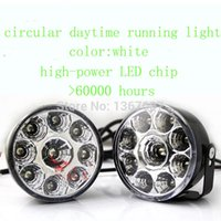 12V A4 LED 1 pair 9 LED Round Daytime Running Light DRL Day Driving Fog Lamps FRONT TAIL Work Lamp