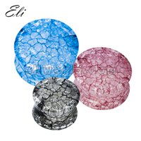 ear gauges - Acrylic Crack Shatter Double Flared Ear Gauge Flesh Tunnel Plugs Expander Classic Piercing Body Jewelry pieces