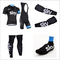 Men bicycle wear - Team Sky Cycling Jerseys Set Cycling Wear Tour De France Bicycle Wear Cycling Bib Shorts Bicycle Wear Shoes Cover Arms Leg Warmer