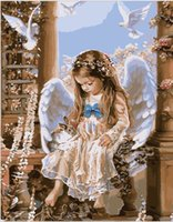 angels coloring - Frameless picture on wall acrylic paint by numbers diy painting oil painting Christmas gift coloring by numbers angel rabbit