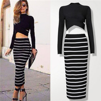 night shirts - 2015 Hot Set Dress Set New Sale Summer Women Ladies Long Sleeve Top Shirt With Long Slim Skirt Suit Women s Long Sleeve Nighculb Set