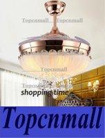 Wholesale european simple design inch ceiling fan light blades hidden fan crystal pendant ceiling fan light LYH172