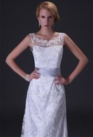 Wholesale Fashion Sheath Column Crew Sleeveless Backless Zipper Lace Satin Bow Prom Dress Floor Length LYJ1923