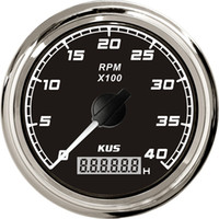 Wholesale 85mm tachometer SQ KF07020 black faceplate stainless steel KL for marine boat car truck high quality red backlight