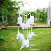 Wholesale 2015 India Style Handmade White Dream Catcher With feathers Wall Hanging Decorations Decor Wall Ornament