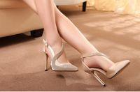 Wholesale Luxury Champagne Rhinestone High Heels Sandals Pointed Stiletto Heel Strappy Wedding Shoes SE006