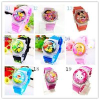 Wholesale Digital Watch New Children Cute Cartoon Character Printing and Flash Watches Hot Kids Rubber Belt and Flip Watches