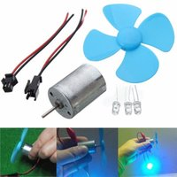 Wholesale 6 V Wind Turbine Generator DIY Kit Micro Motor Diode Plug Four Blue Leaf Paddle MAC_02H
