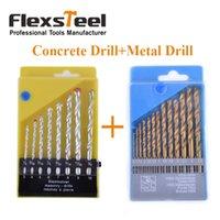 Flexsteel 8PCS HSS manuel de maçonnerie Rock Drill Bits mis pour le béton + 13pcs HSS Titanium Twist foret bits mis au métal