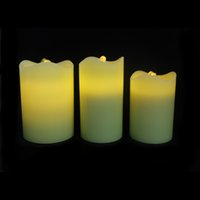 Wholesale E Flame Solid Color Wax Candle Fountain LED Candle Flameless Candle Fountain Light Christmas Candle DHL Free