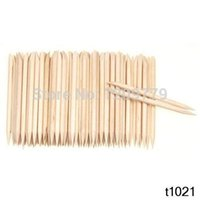 Wholesale 100Pcs Orange Wood Sticks Nail Art Care Salon Cuticle Pusher Remover Manicure Tool T1287 W0