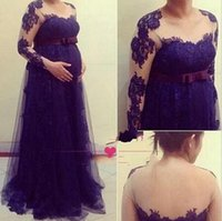 dresses for pregnant women - Princess Cheap Formal Evening Dresses Celebrity Dress Modest Long Sleeves Arabic Sexy Party Gowns With Lace Vintage For Pregnant Women