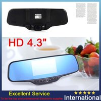 Wholesale 4 quot Blue car camera rearview mirror auto dvrs cars dvr parking recorder video registrator camcorder full hd p night vision