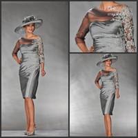 backless dress shop - 2015 bateau satin Mother of the Bride Dresses A line Silver Ruffles Knee Length Wedding Party Guest Gown Shop Online Designer