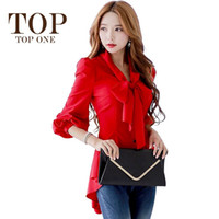 Wholesale Women Bow Tie Blouse New Fashion Autumn Puff Sleeve Chiffon Womens Tops Korean Style Women Office Shirts Dovetail Design