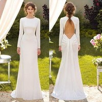 Wholesale 2015 Simple Beach Mermaid Wedding Dresses Under Long Sleeves Crew Sweep Train Backless Chiffon Bridal Gowns