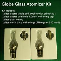 Globo, vidrio, atomizador, kit, cuarzo, doble, bobinas, vidrio, globo, bulbo, cera, atomizador, tanque, seco, hierba, globo, vidrio, vaporizador, kit, dos, cerámico, bobina