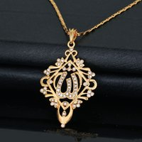 real gold jewelry - New Trendy K Real Gold Plated Rhinestone Slide Vintage Design Allah Necklaces Pendants Jewelry For Women