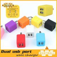 Wholesale Free DHL Universal V A A dual usb ports AC Power Adapter Charger US Plug Wall Charger Adaptor colorful mini wall charger