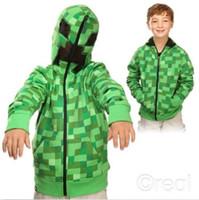 Wholesale Creeper Hoodie MINECRAFT jacket Hoodie Creeper Coat Creeper jacket US youth size for kids boys GREAT QUALITY MINECRAFT Creeper jacket