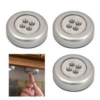 Wholesale 3 x Round LED Battery Operated Stick On Push Lights Closet Under Desk Lighting