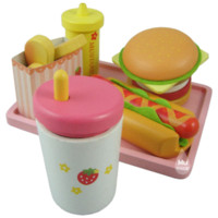 baby food dogs - Baby Toys Strawberry Hamburger Shop Play Food Wooden Toys Hamburger Set Hot Dog Set Kids Kicthen Toys Birthday Gift