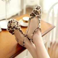 women buckles - New Fashion Women shoes sandals Flat Sandals zapatos mujer Leopard Print T Strap Buckle Fastening Sexy Shoes Flats SW031