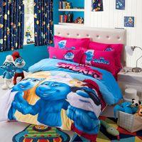 Wholesale 3D Cartoon Kids Bedding Set Children Twinl Queen King Size Bed Set The Smurfs Duvet Cover Bed Sheet Pillow Case