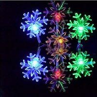 Gran luz de copo de nieve España-Copo de nieve grande LED luces de cadena AC220V 110V LED colorido de Navidad cadenas ligeras Festival Adornos Iluminación interior al aire libre