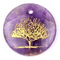 Bohemian 1.7 - 1 inch hand carved purple amehtyst stone pendant with life of flower symbol for mental healing crystal point pendant