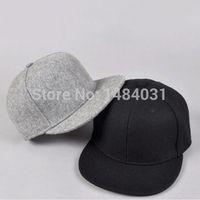Cheap Wholesale-Men Wool Snapback Baseball Cap Plain Basic Blank Flat Baseball Hat Black Grey