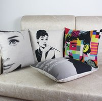 audrey hepburn bedding - New arrival Audrey Hepburn fashion vintage original design linen cotton Marilyn Monroe home bedding decorative pillow cover
