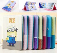anime ipad case - 2013 New Arrive Cute Anime Despicable Me Minions Smart PU Leather Stand Case Cover Skin For ipad or for ipad3 freeshipping